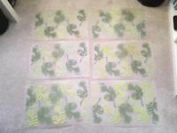 6 Large plastic leaf design placemats