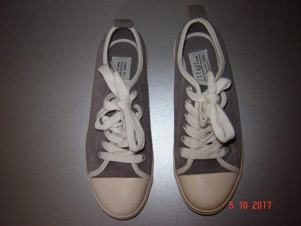 Next, grey suede plimsoll with white toes and laces. Size 36