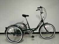 "Adults tricycle, folding frame, 24"" wheels, 6-speed shimano gears, from BuyTricycle, brand new boxed"