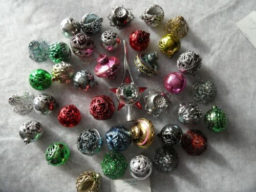 38 Vintage Ornaments Assortment hard plastic with Tree Topper B