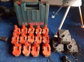 14 heavy duty Bosch power tool batterys and 3 chargers
