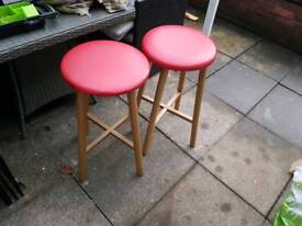 2 x red bar stools
