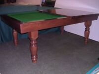 7ft x 4ft Pool Dining Table in solid oak, with slate bed. Lovely turned oak legs, and drop pockets