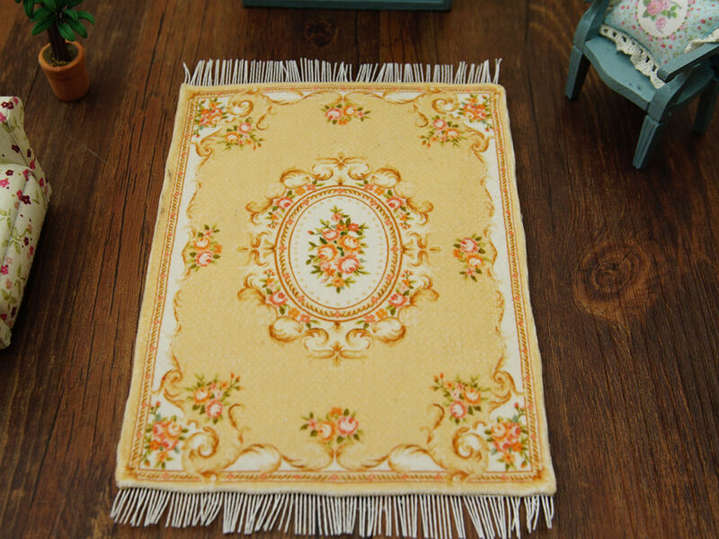 Beige Light Yellow Pink Rose Beautiful Aubusson Design Dollhouse Rug 1:12