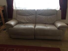Large 2 Seater Cream Leather Reclining Sofa