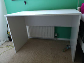 White desk and black/green chair
