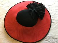 Red and Black hat with flower