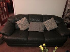 Bargain buy ! - Three seater green leather sofa with 2 free armchairs
