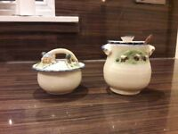 Handmade pottery sugar and jam dishes