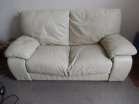 Reduced to £10 - Cream Leather Sofa - Second Hand - Collection Only