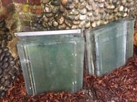 """Greenhouse panes. 60 plus mostly 2ft by 2 ft some 2ft by15"""" and some slips."""