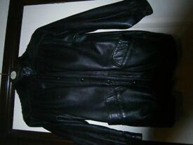 Ladies black leather coat, size 12,