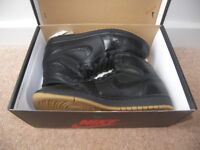 Nike Air Jordan Retro 1 Black Gum Shoes , Trainers , Uk Size: 8 (Euro: 42.5) Worn Once !