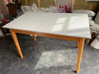 Formica Top Midcentury Dining Table with Chrome Edging Desk