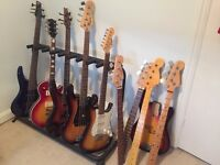 Fender Squier Bass Guitar, Ibanez 5 string bass, electric guitars, necks and body