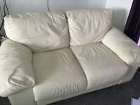 2 and 3 seater cream, leather sofas