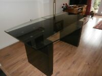Classy glass and granite extending dining table