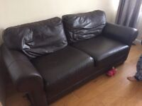 X2 2 Seater Sofa with matching foot stall, first sofa will fit 3 people, Faux leather