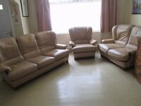 Beige leather 3 piece suite 3 2 1 seater sofa set pale brown LONDON N17