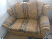 FREE: Gold 2-seater sofa, great condition,collect only, needs to be gone by Wednesday.
