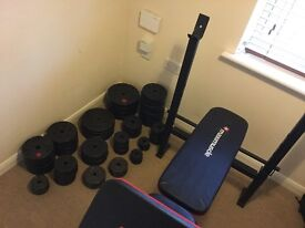 176.5 kg of weights (mixed cast iron and vinyl), maximuscle bench and more.