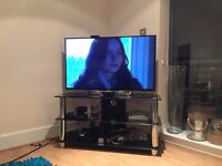 Glass TV table, stand, drawer - AS NEW!