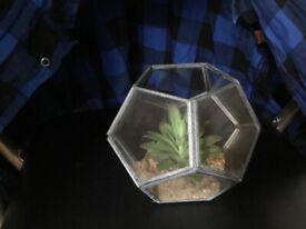 Teranium Glass and Metal artificial plant ornament