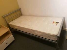 Single Metal bedframe with mattress