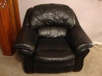 Two Armchairs, Black, Soft Italian Leather.