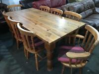 Stunning pine dinning Table and 8 chairs