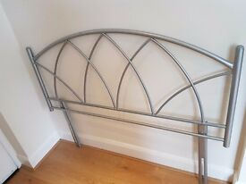 Attractive silver coloured gothic-style double bed headboard