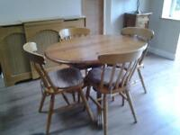 Antique PIne Kitchen Table & 4 Chairs