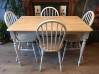 Solid Wood Dining Table With Four Chairs