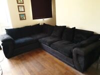 *Collect This week* DFS Large Corner Sofa - Black Fabric - Used