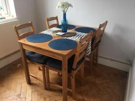 Ikea wooden Dining table and 4 chairs