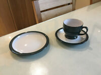 Denby Greenwich tea set (8 teacups, saucers and side plates)