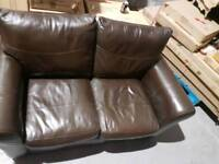 2 Seater brown leather sofa in good condition