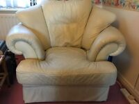 2 leather armchairs, cream, for quick sale individually or both. Very comfortable.
