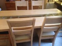 Large Extendable Wooden Glass Dining Table And Four Chairs