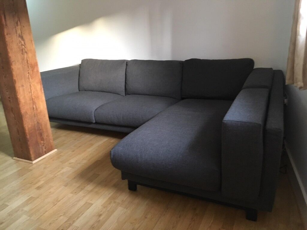 Second Hand IKEA Nockeby L Shape Sofa - two-seat sofa w chaise ... on chaise sofa sleeper, chaise recliner chair, chaise furniture,