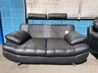 2+2 Italian leather sofa with chrome legs & adjustable headrest