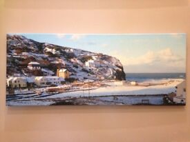 Porthtowan in the snow canvas framed print NEW