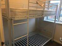 White bunk beds and top mattress for sale