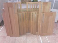 Oak kitchen cupboard doors with chrome handles
