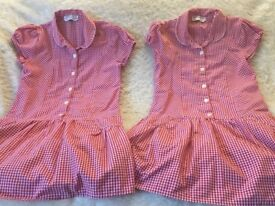 2x summer dresses red check marks and spencer age 6-7 years school Uniform
