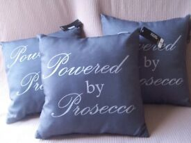 Brand new grey cushions with Prosecco printed on them
