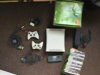 Pre-loved Xbox 360 + 20GB HDD + all cables + 2 controllers + 17 games!