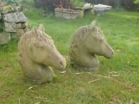 Pair of Vintage Horse Head Gate Post Finials Gate Pot Toppers Garden Statue