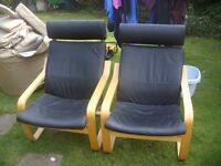 2 X IKEA POANG LEATHER AND WOOD ROCKING CHAIRS