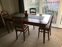 FREE - Solid wood dining table and four chairs - excellent condition - pick up from north Edinburgh